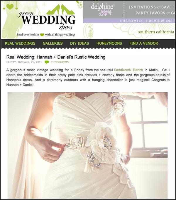 fad52e776cc Green Wedding Shoes Featured Krista Jon s Floral Designs for Saddlerock  Ranch Wedding in Malibu Canyon
